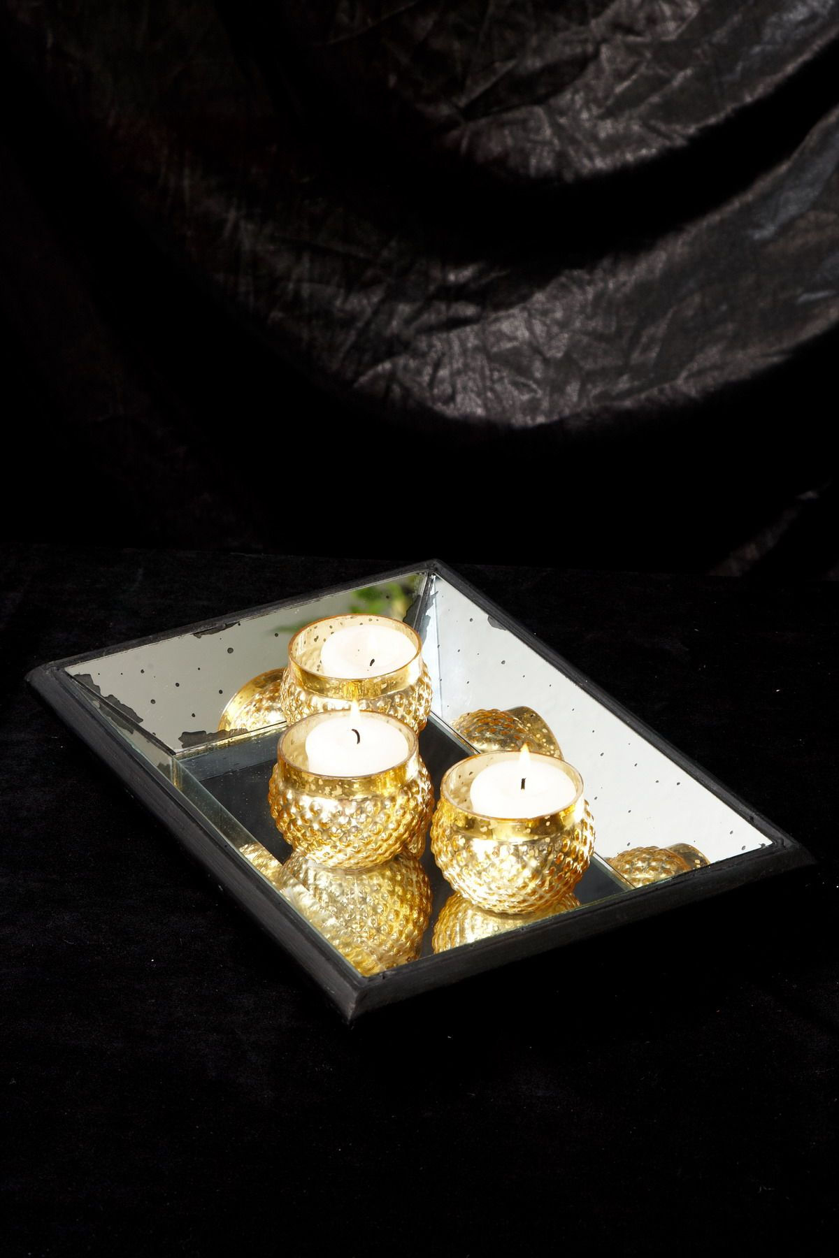 Mirrored Tray Black 9in   Gold coffee table, Gold coffee ...