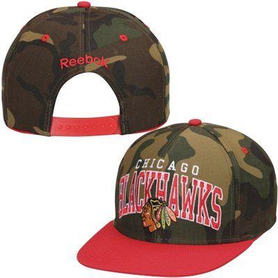 Men s Chicago Blackhawks Reebok Red Camo Flat Brim Snapback Adjustable Hat 9632a85758d2