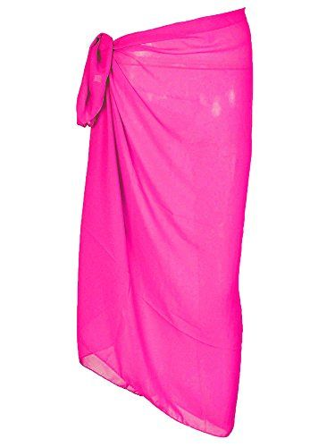dc43887098 Urban Virgin Women s Sheer Hot Pink Plus Size Sarong Pareo Coverup Pareo  Swimwear Chiffon Swimsuit Wrap