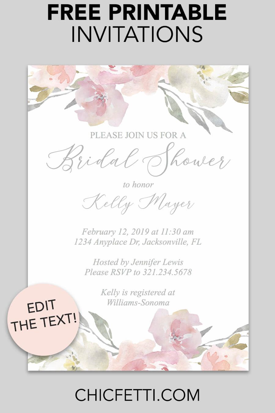 graphic about Free Printable Bridal Shower Invitation Templates known as Pin upon Invites - Free of charge Printable Invitation Templates