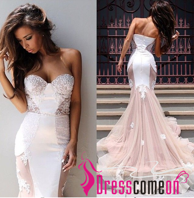 2015 Newest Mermaid Prom Dress Princess White Lace Blush ...