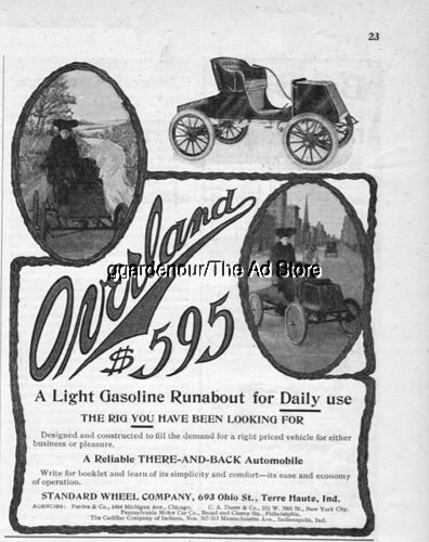 1903 Overland Runabout Standard Wheel Terre Haute Indiana Horseless Carriage Ad
