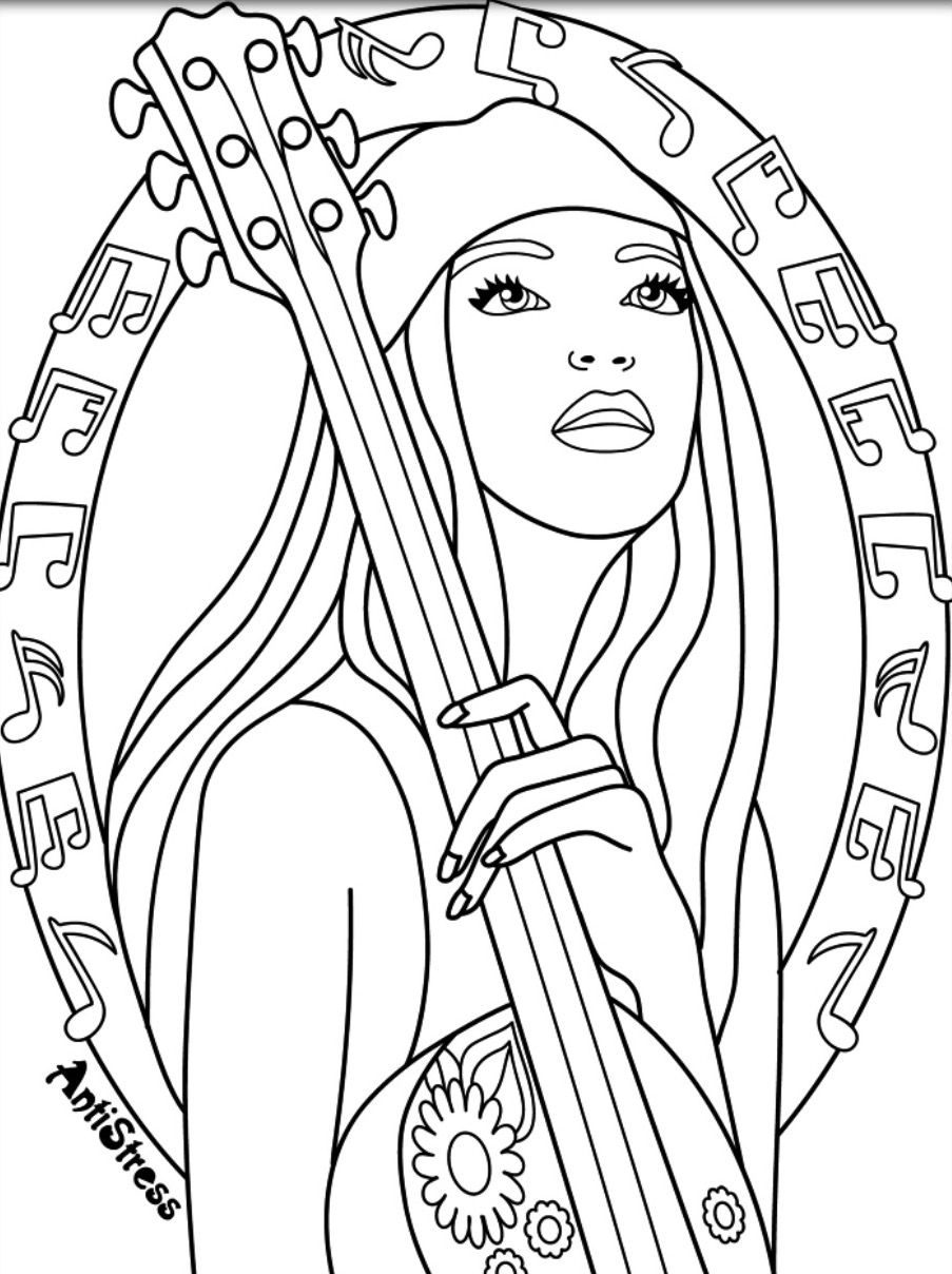 coloring pages baylee jae - rock on music coloring pages for adults pinterest