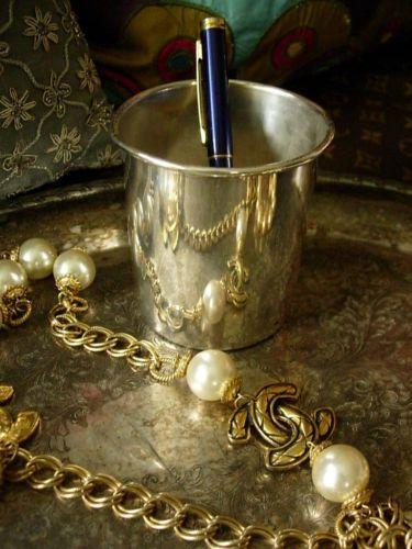 Auth Ultra RARE Vintage GUCCI Silver Cup Goblet Mug Vase Accessory Barware GG