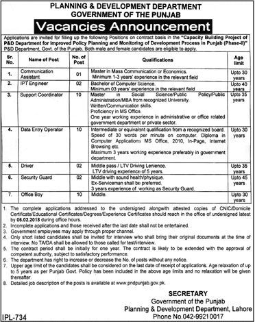 Planning And Development Department Jobs  In Lahore For Data