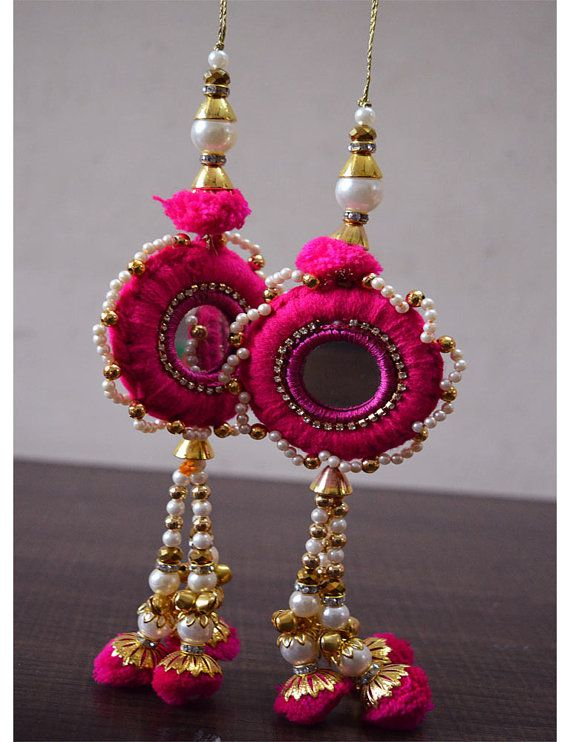 1 Pair Latest Indian Gipsy Latkans golden beads  Decorative Tassels Accessories