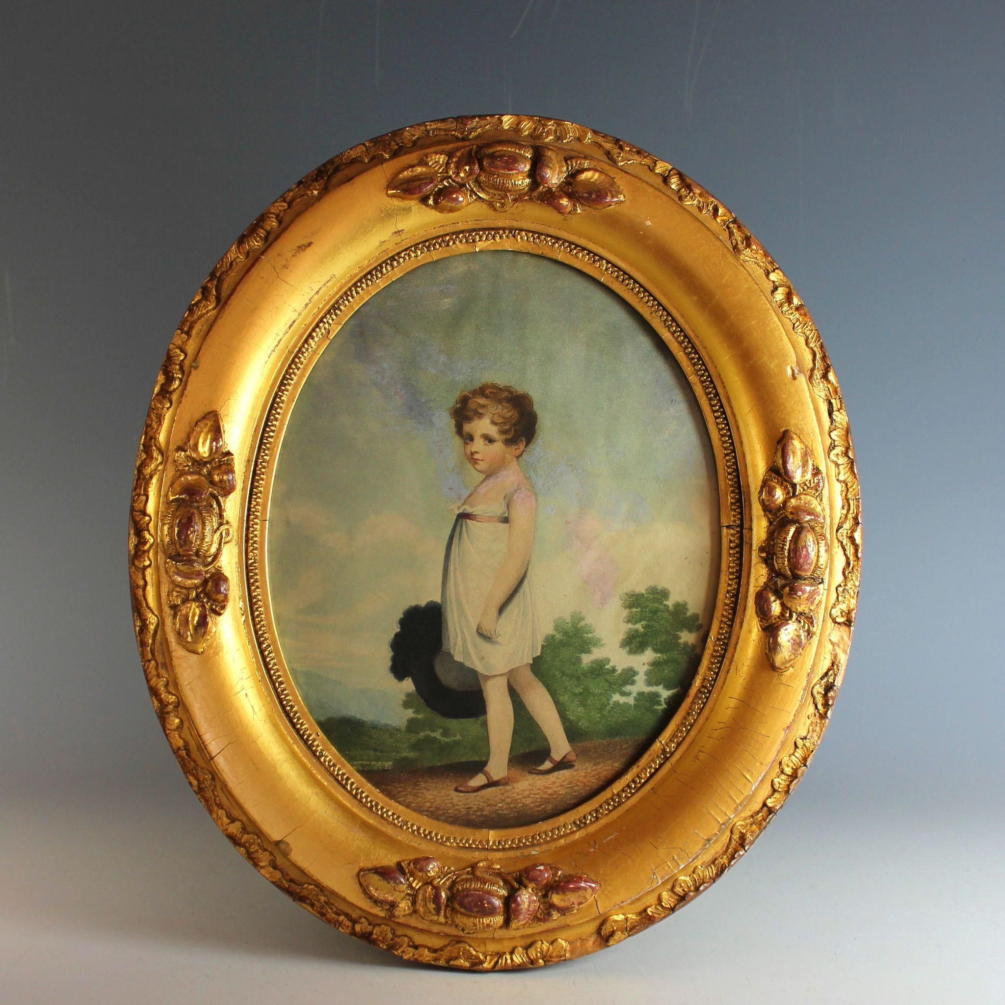 Antique Oval Gilded Frame with Antique Print of a Young Girl ...