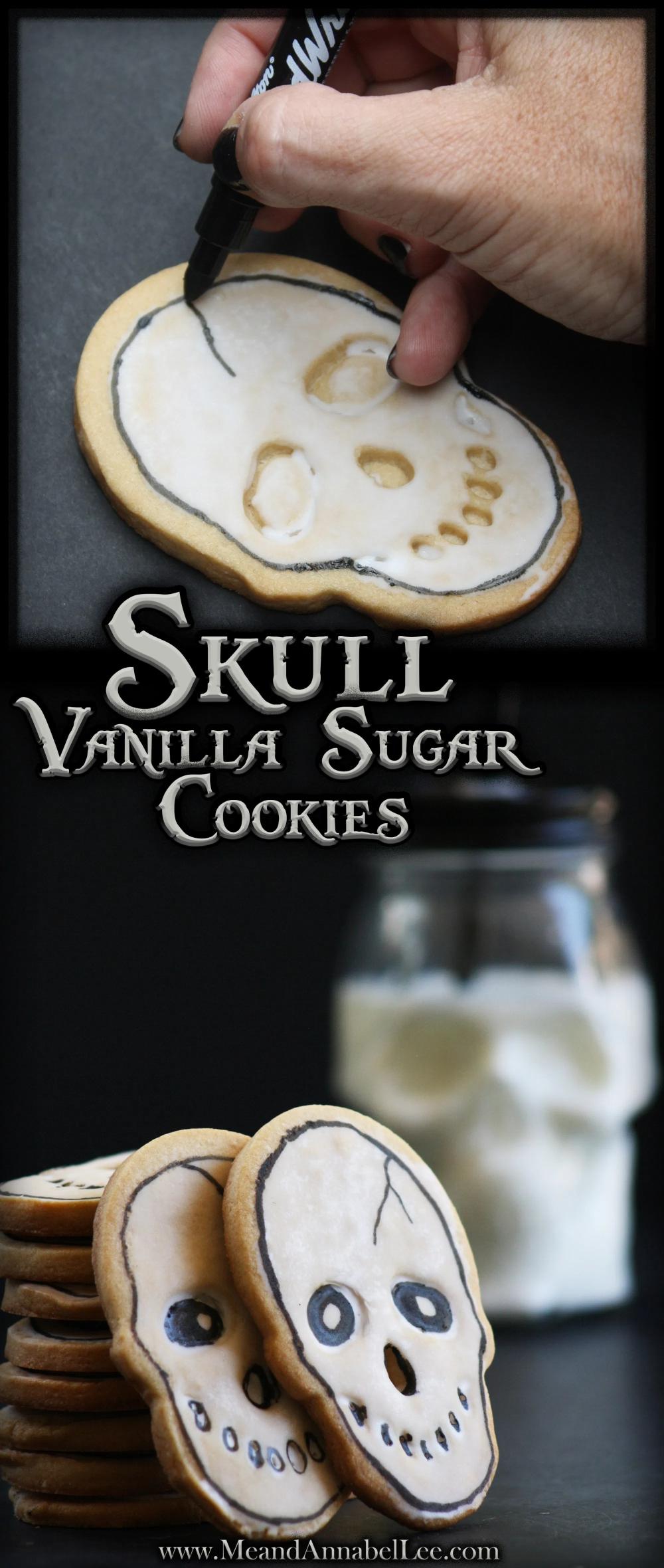 Halloween Skull Cookies - Vanilla Sugar Cookie Recipe | Me and Annabel Lee