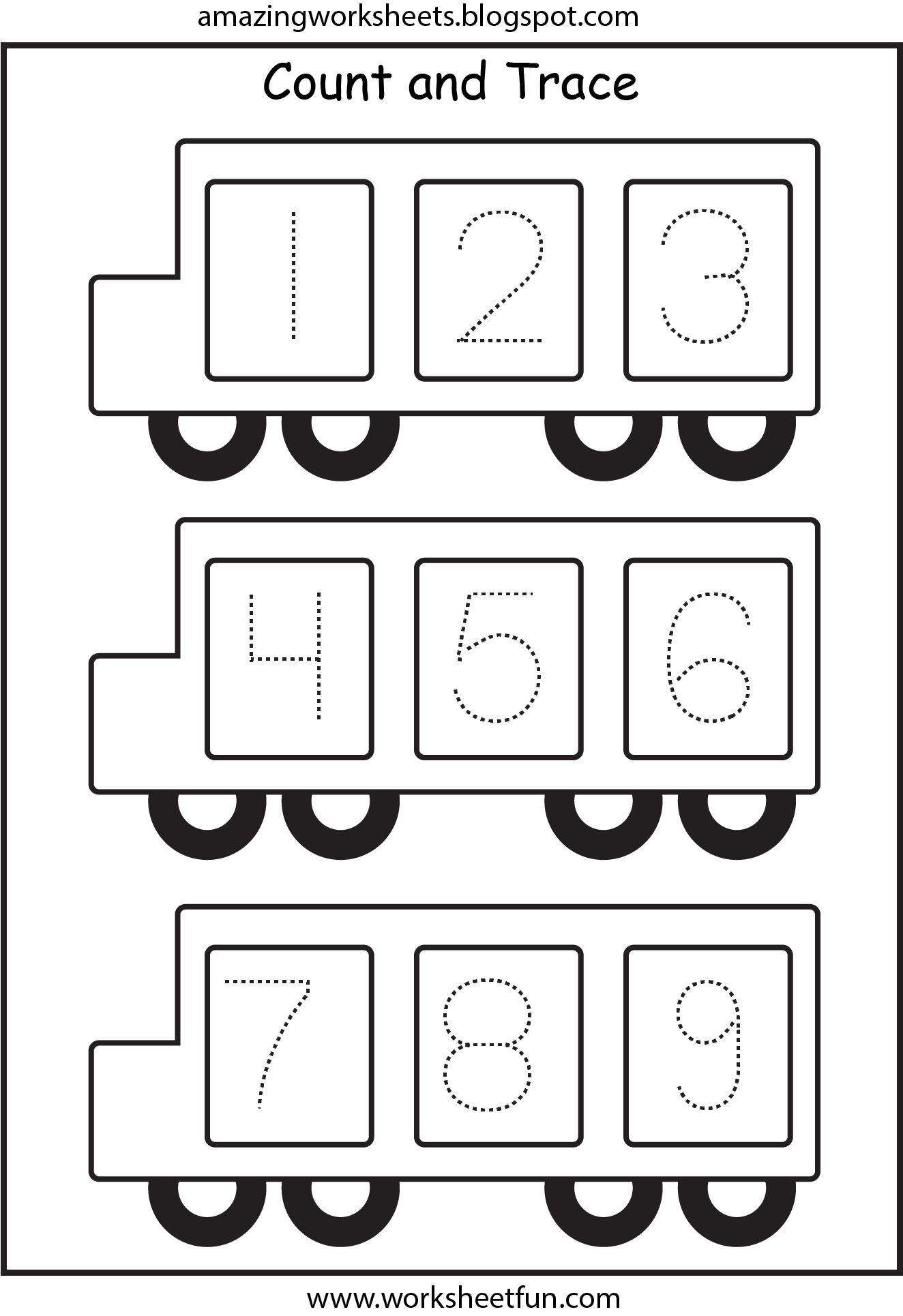 Bus Number Tracing 1 9 Back To School Kindergarten