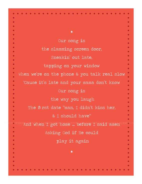 Printable Taylor Swift Our Song Lyrics Etsy 7 00 Taylor Swift Lyrics Taylor Swift Our Song Taylor Swift Songs