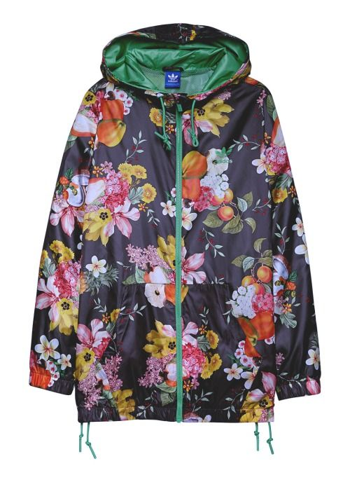 Adidas Originals Farm Bright Floral Print Festival Windbreaker Jacket Multi