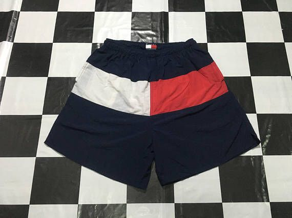 82d84f048d Vintage Tommy Hilfiger trunks full color block big flag logo swimming shorts  pants beach Size L 30-4