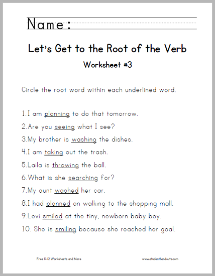 Root Of The Verb Worksheet 3 Free To Print Pdf File