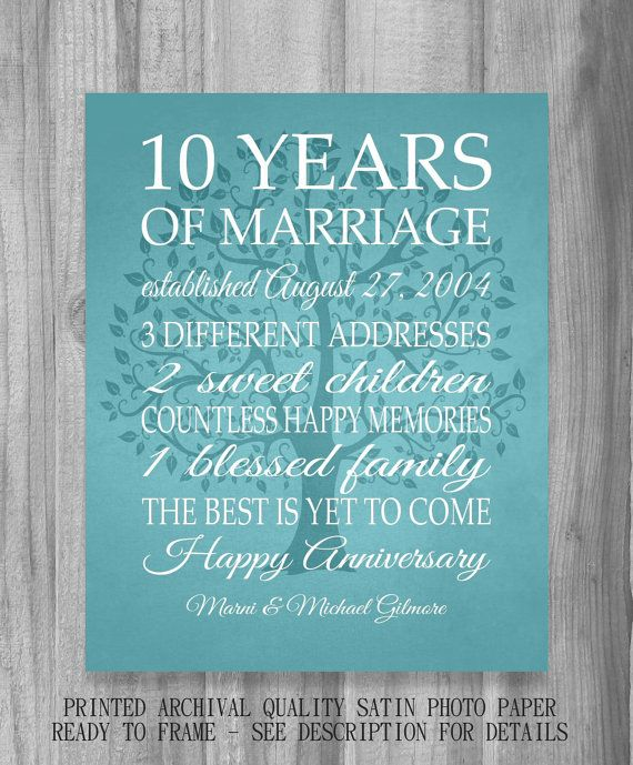 10 Year Anniversary Gift Print Wedding Anniversary Personalized Pr 10 Year Anniversary Gift Traditional Anniversary Gifts Personalized Wedding Anniversary Gift