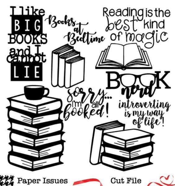 Download I Like Big Books-Free Cut File | Book silhouette, Free cut ...