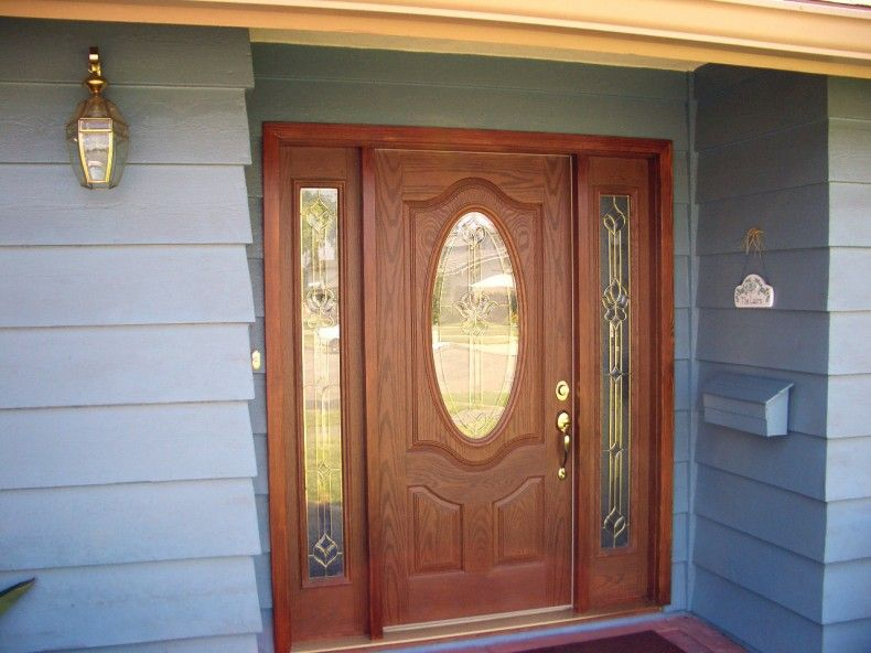 Single Front Door Designs: Beautiful Front Porch Design Ideas With Light  Grey Beam And Soft
