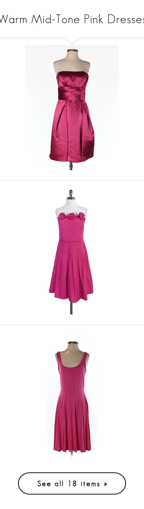 """""""Warm Mid-Tone Pink Dresses"""" by tegan-b-riley on Polyvore featuring dresses, pink, max and cleo, white cocktail dress, pink cocktail dress, white dresses, pink dress, lilly pulitzer dresses, purple dresses and fuchsia pink dress"""