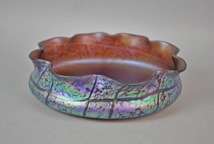 LOETZ ART GLASS IRIDESCENT AMETHYST BOWL