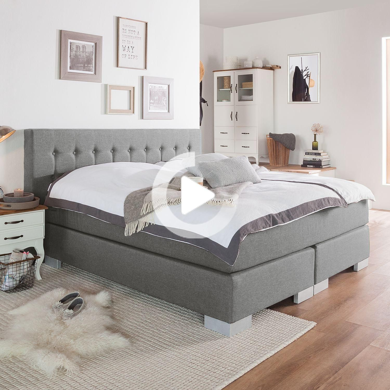 Letto A Molle Box Fredriks Loimaa 140x200 Cm Tessuto Platino Con Topper In 2020 Box Spring Bed Beautiful Bedroom Decor Bed Springs