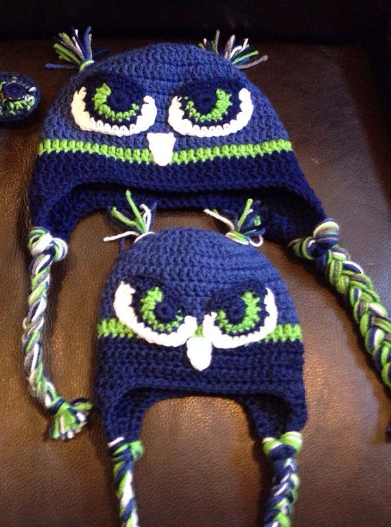 Seattle Seahawks Hawk Hat - anyone want to crochet these for me  I ll trade  and make something knitted for you... Knitted beanies! 86fc54e49