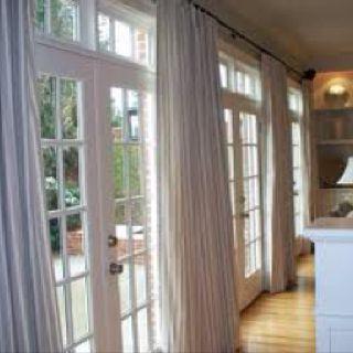 Transom Windows Draperies Over French Doors Sliding Door