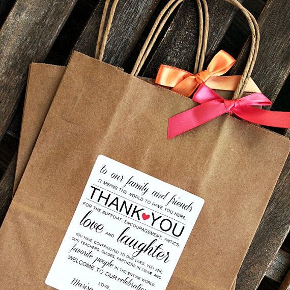 "Thank You Note Wedding Gift: Personalized ""Thank You"" Wedding Welcome Bag /// Wedding"