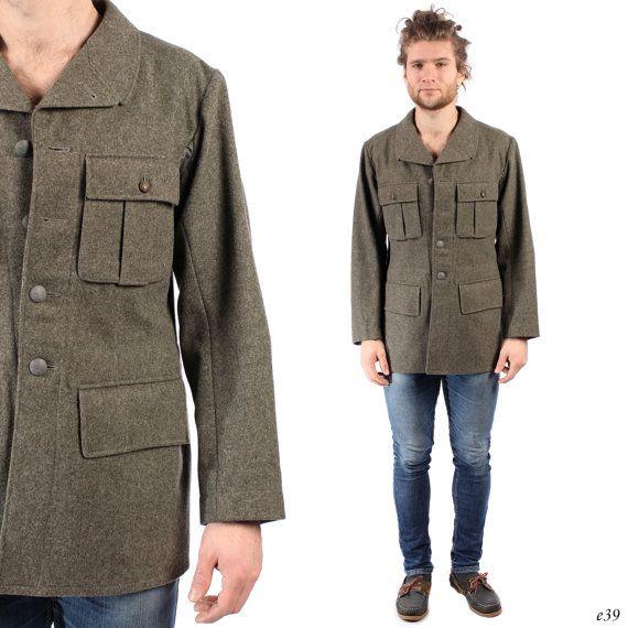 Mens ARMY Jacket . 1940s Swedish Military Coat Deadstock Khaki Raw ...
