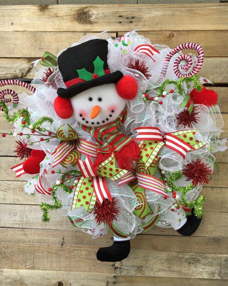 Snowman Wreath Christmas Snowman Wreath Snowman Character Wreath Winter Snowman Wreath Snowman Door Wreath Snowman Decorative Wreath Winter Decorative Wre Christmas Wreaths Christmas Mesh Wreaths Christmas Swags