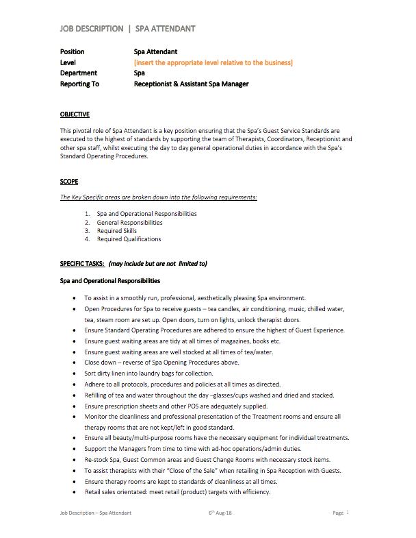 Spa Attendant Job Description