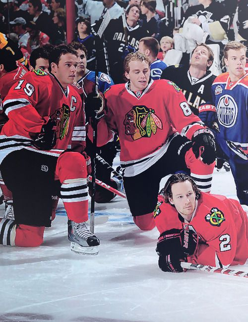 best service fb9c5 f386d Jonathan Toews, Patrick Kane, and Duncan Keith at the All ...