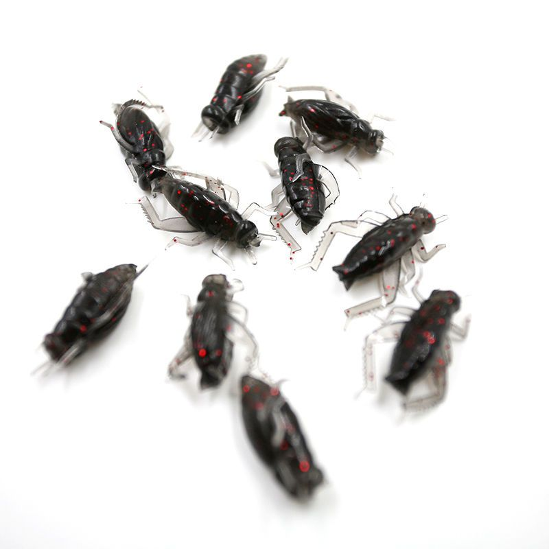 10 x Black Soft Plastic Crickets Plastic Box Insects Fishing Bait Fake Lure