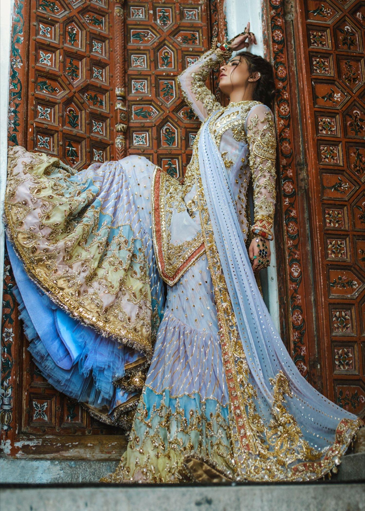 Beautiful Indian gharara dress for wedding wear in blue