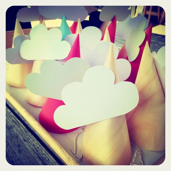 DIY Party Hats by Alanna the Planner using cone holders.  Head in the Clouds - Feet on the Ground Party I The Pretty Baker #party #partythemes #partysupplies #nzpartysupplies #theprettybaker #welovetoparty see more at http://www.theprettybaker.co.nz/blogs/blog/90738755-head-in-the-clouds-feet-on-the-ground-party