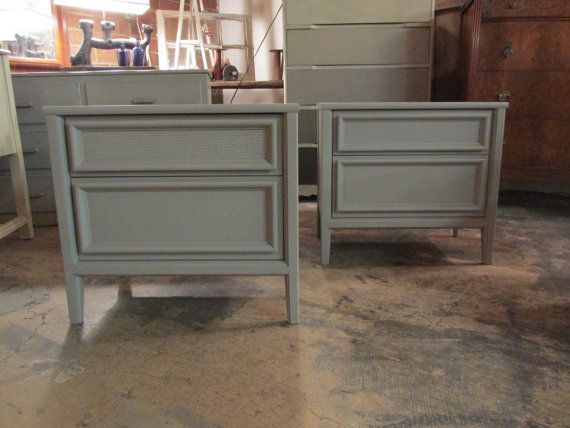Painted Gray Mid Century Nightstand Pair by ReinventedCharlotte, $285.00. These would be great, with the addition of some pulls.