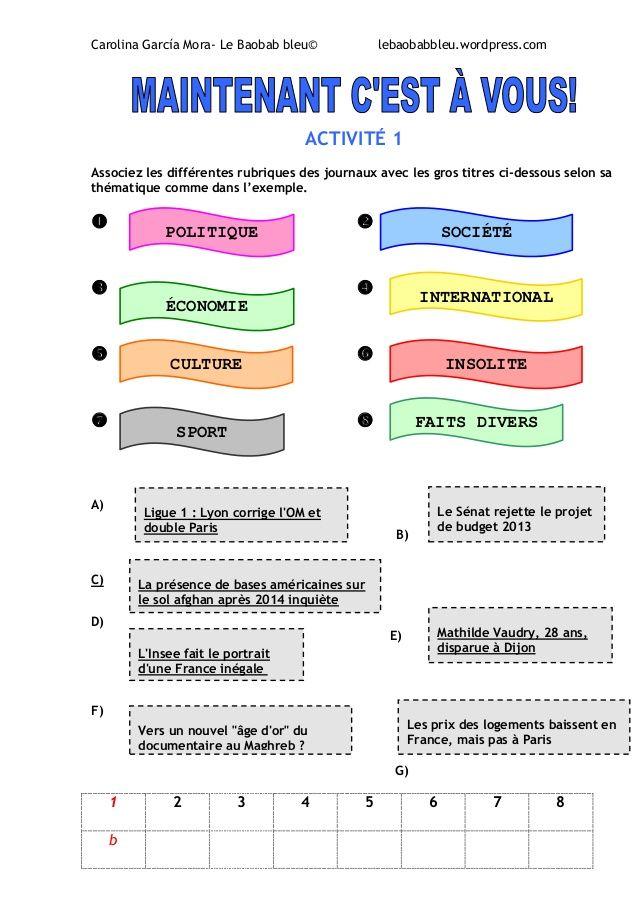 La presse- vocabulaire et exercices | Vocabulaire, Texte ...