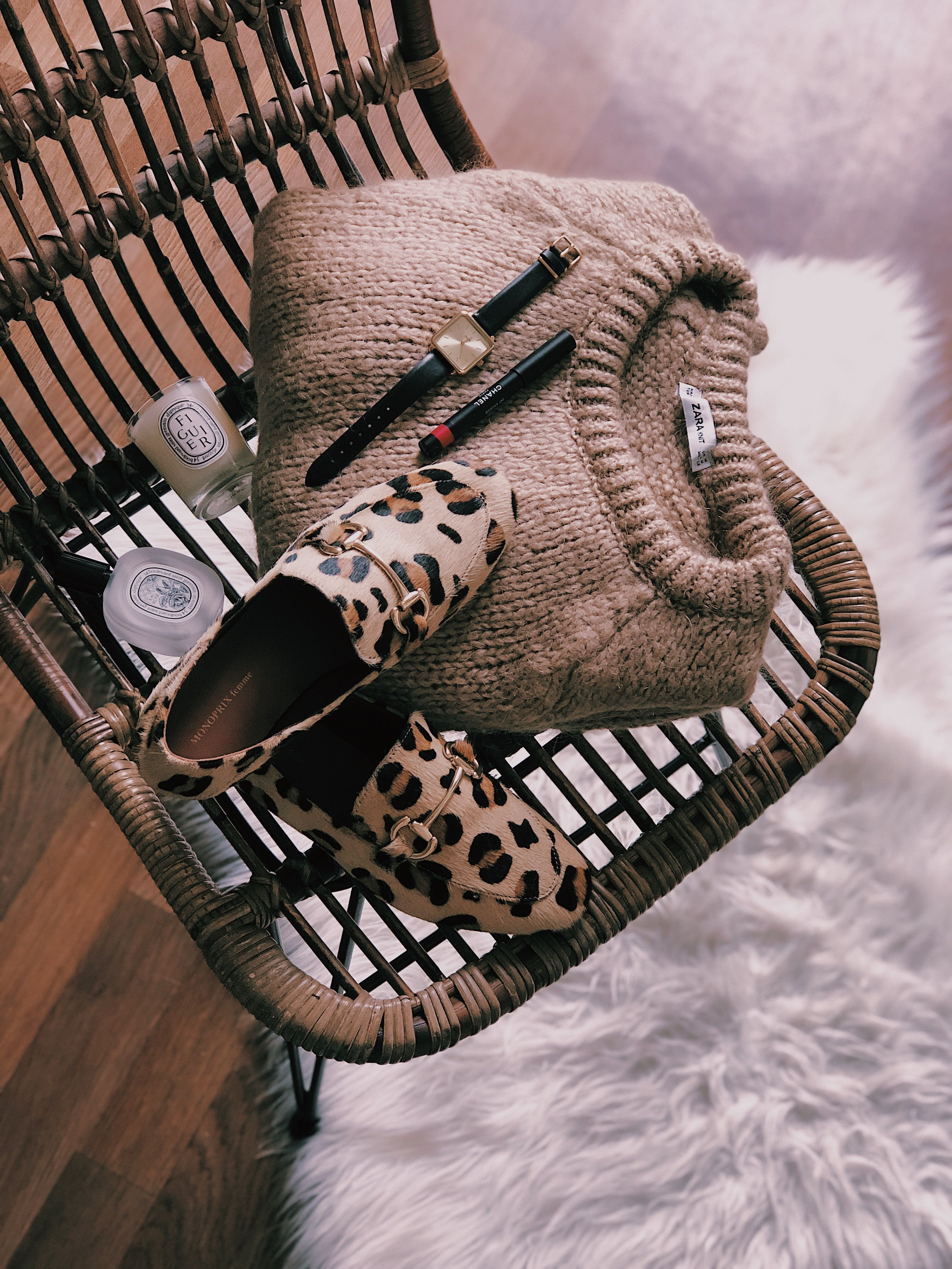 plus de photos edc53 eced9 Pull beige loose zara, mocassin leopard monprix, montre ...