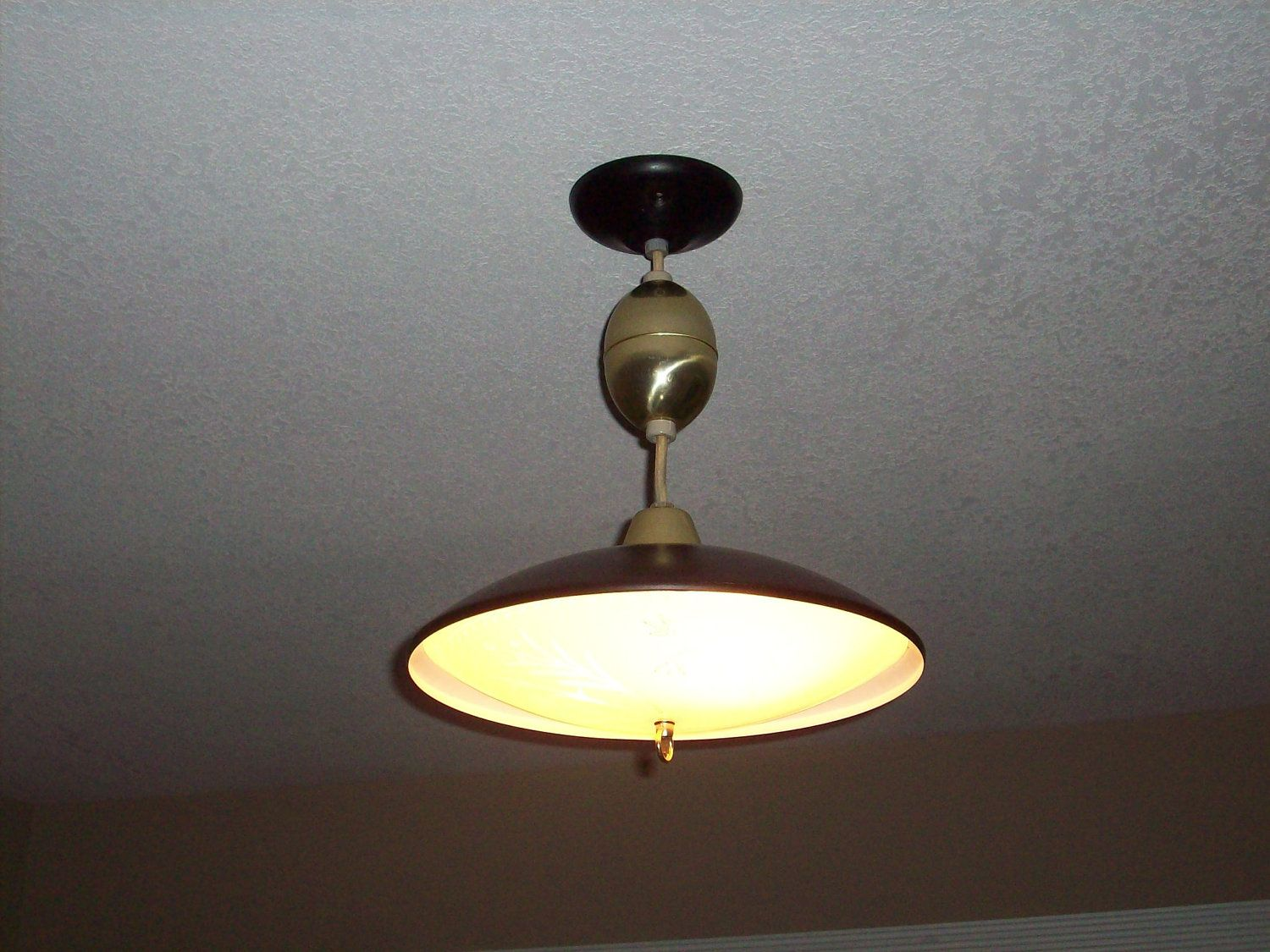 Vintage Light Retractable Black Pull Down Mid Century Ceiling