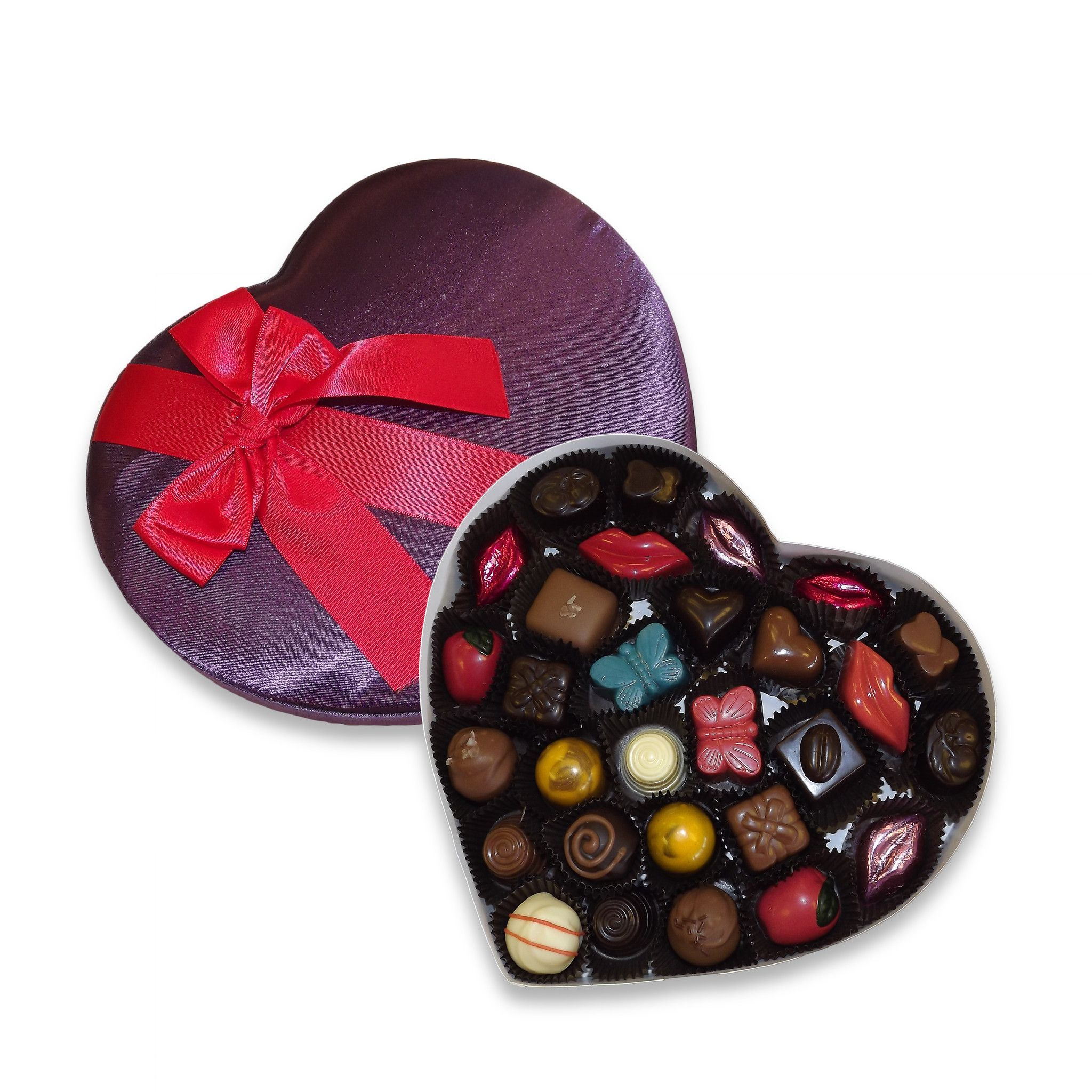 Purple satin heart chocolate variety box pc products