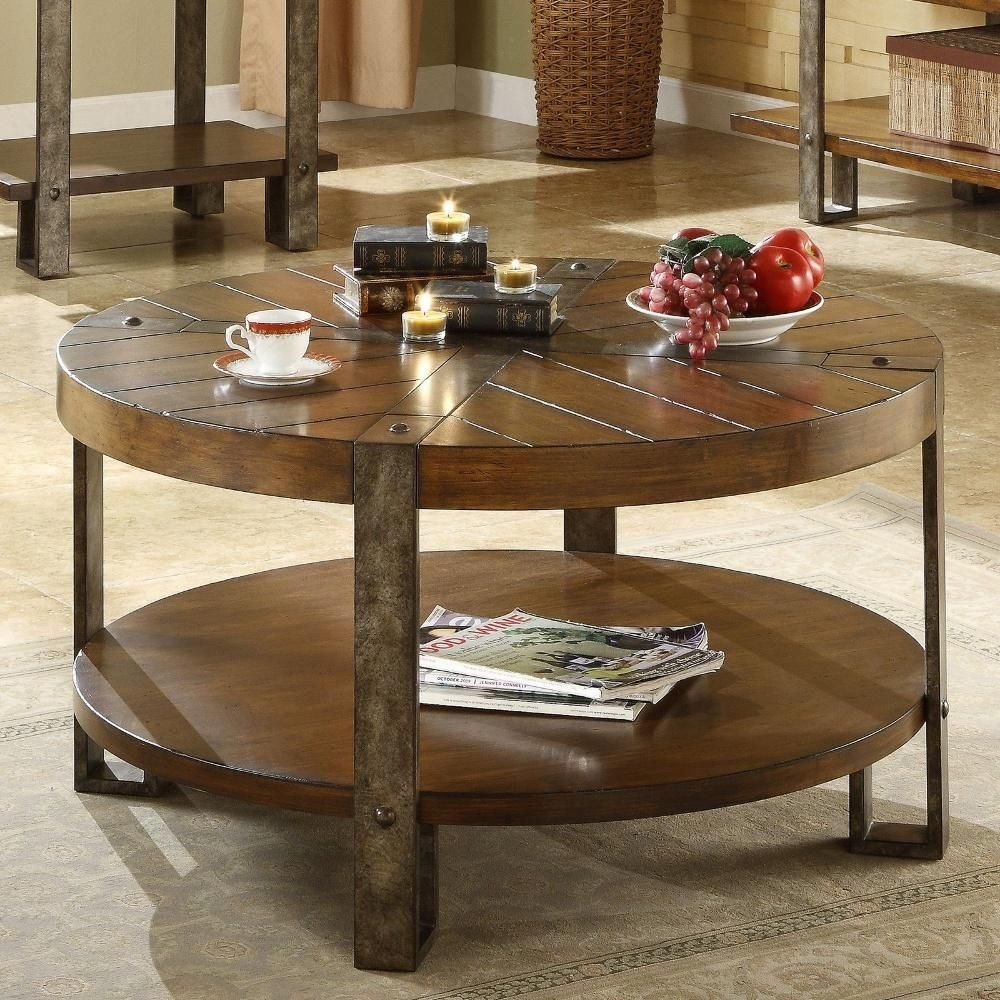 With A Top Constructed To Look Like Plank Flooring Metal Legs And Metal Straps Across The Top This C Round Wooden Coffee Table Coffee Table Coffee Table Wood [ 1000 x 1000 Pixel ]