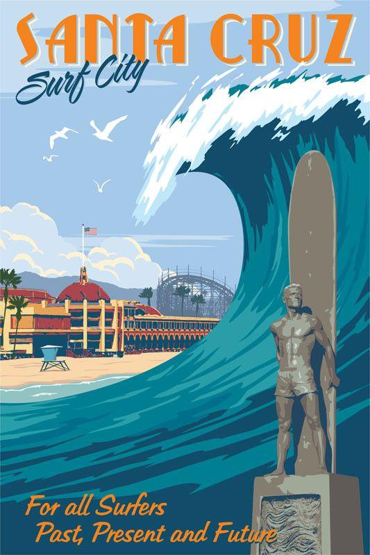 Santa Cruz, California, vintage poster print | California