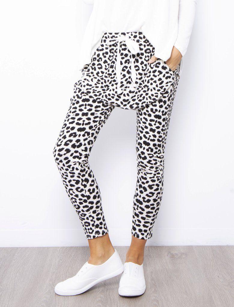 Layla Leopard Jogger Black White Frankie Co Clothing