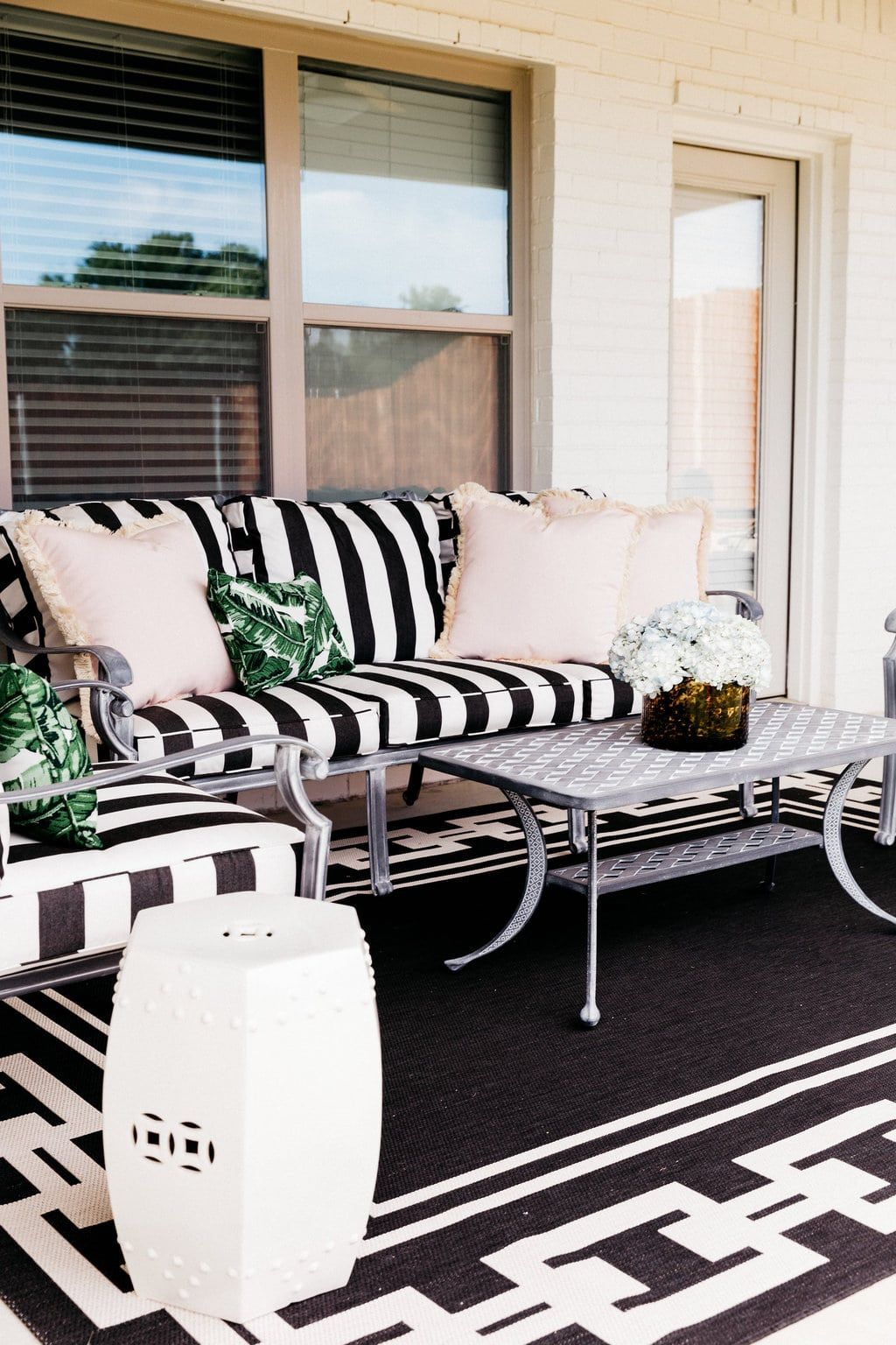 Black And White Striped Patio Cushions | Palm Print And Blush Pink Outdoor  Pillows | How To Decorate Your Patio