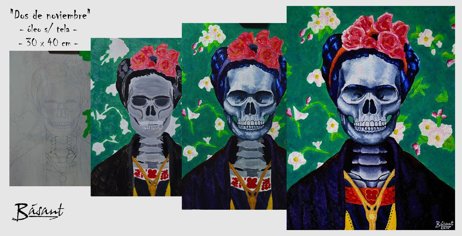 #Frida #Kahlo #painting #pintura #oil #óleo  #Básant Facebook album: https://www.facebook.com/media/set/?set=a.1580575845498621.1073741847.1480678848821655&type=3