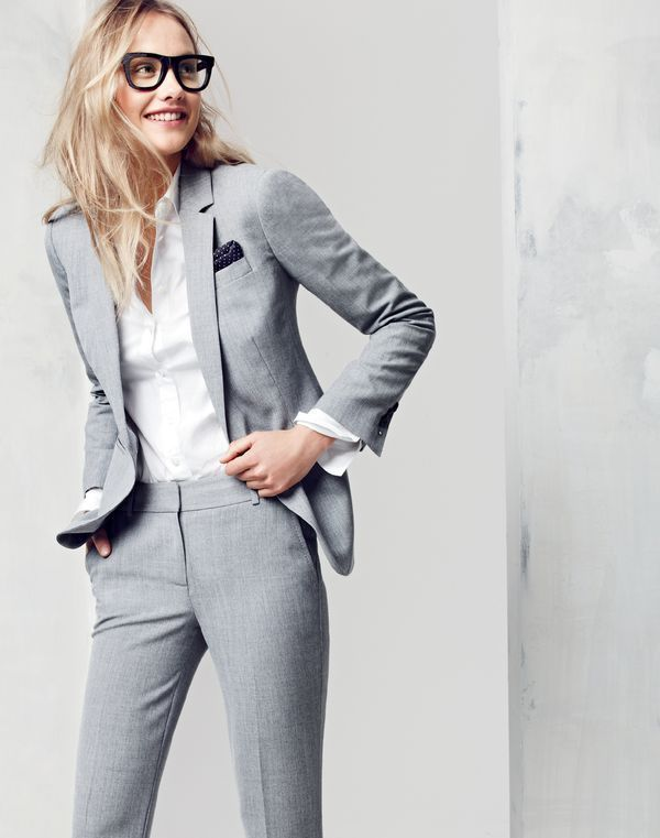 comfortable feel low price shop for luxury Grey women tailored suit and white classic shirt | Womens ...