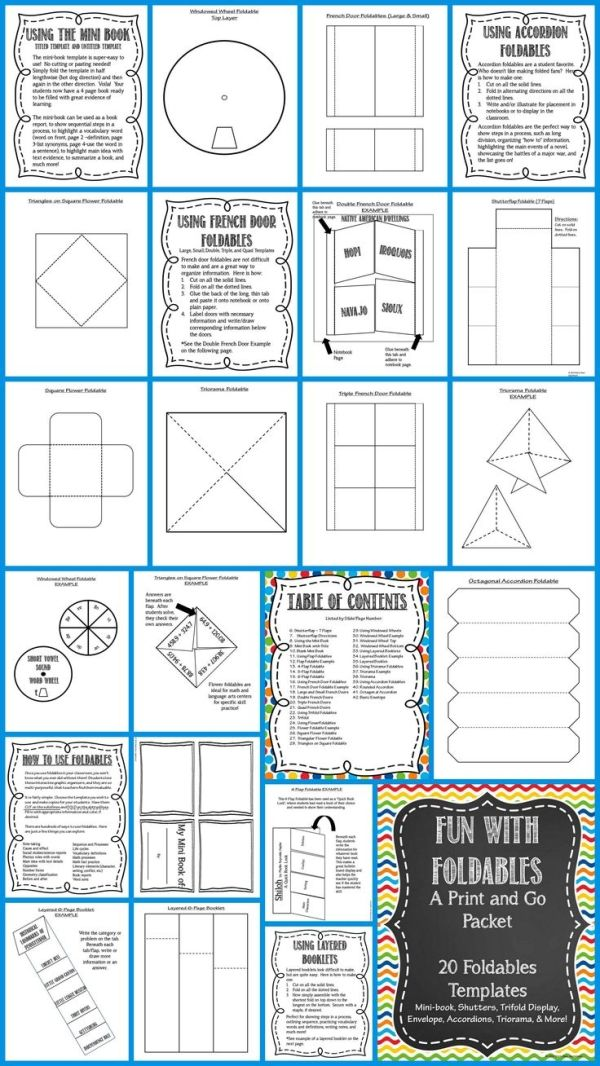 Foldables Fun! A huge packet of foldable templates, directions for