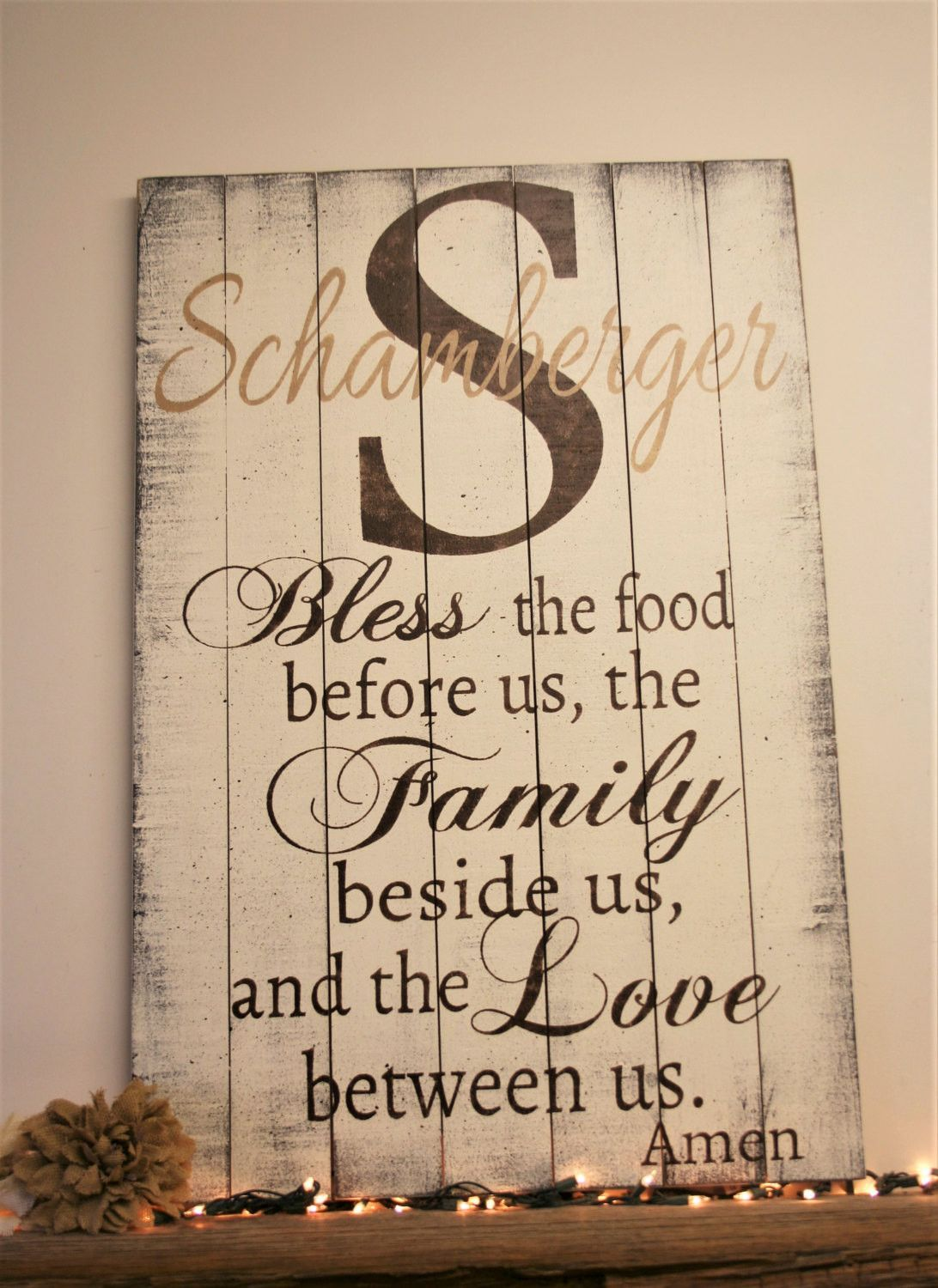 Bless the food personalized wood pallet sign dining room decor