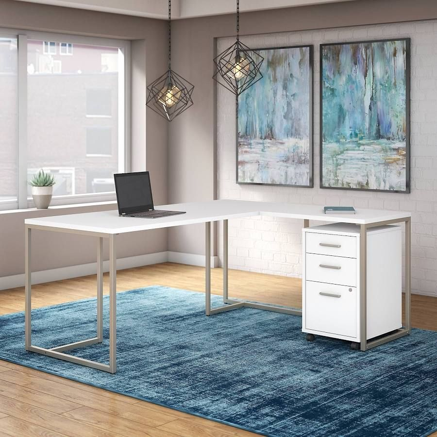 Dual White Home Office Desk