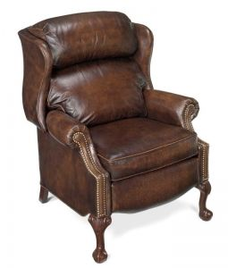 Wing Chair Recliner Leather Wwe Ppv Souvenir Chairs Bradington Young Ball Claw Reclining With Brass Nails 4115