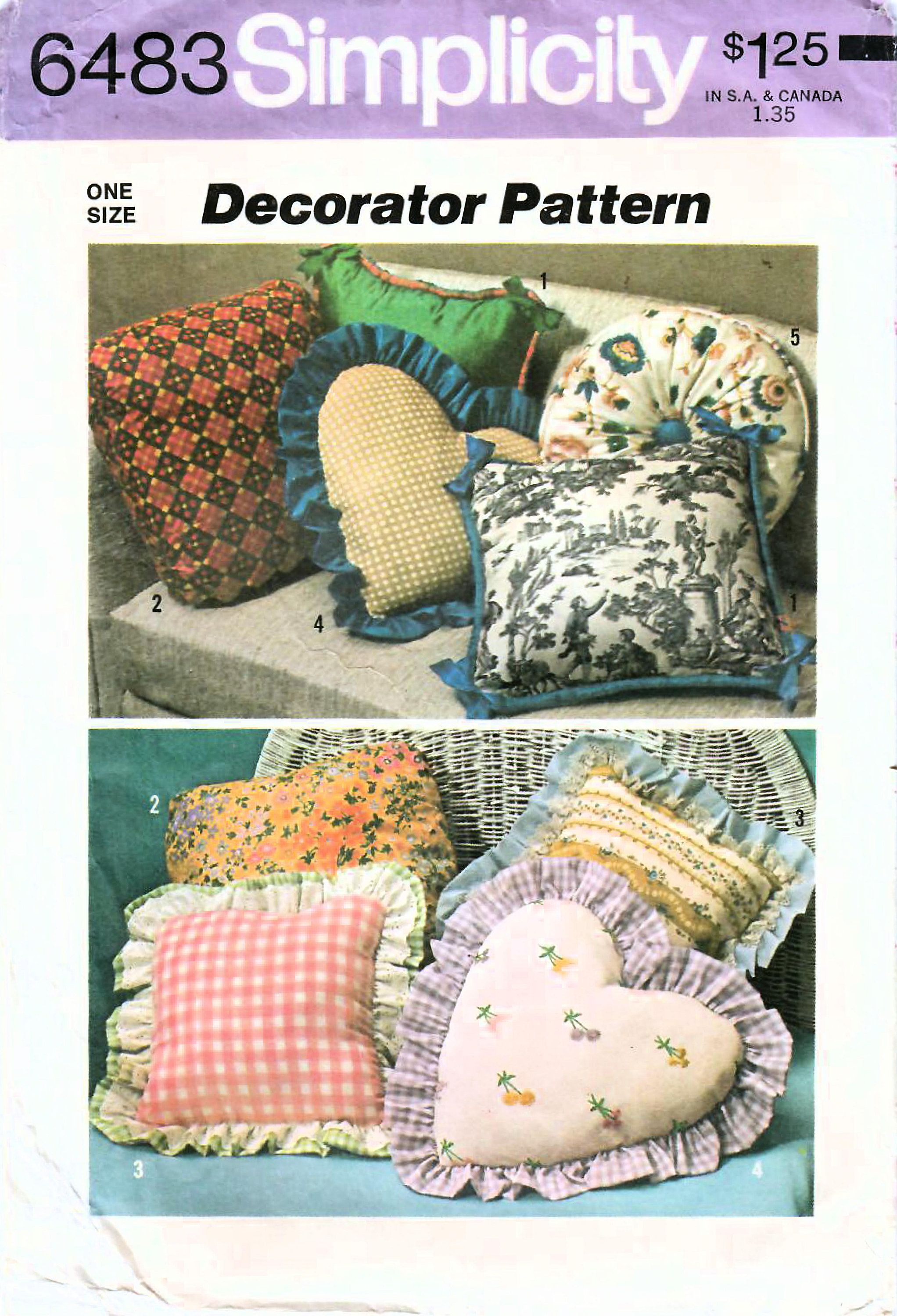 1970s Simplicity 6483 Vintage Sewing Pattern Home Decor Pillow, Throw Pillows, Heart Pillow, Square Pillow, Round Pillow