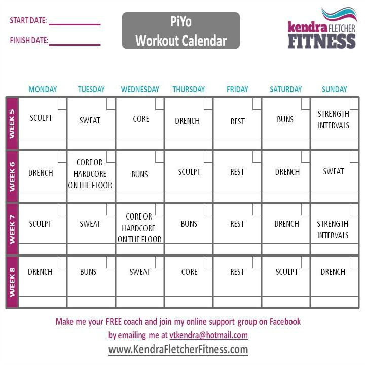 Get a PiYo Schedule and Printable PiYo Workout Calendar here - workout calendar
